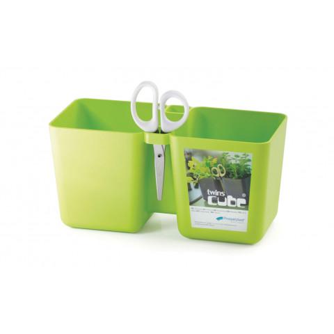 Květináč na bylinky s nůžky - Twins Cube limetka