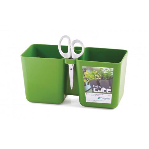 Květináč na bylinky s nůžky - Twins Cube zelený
