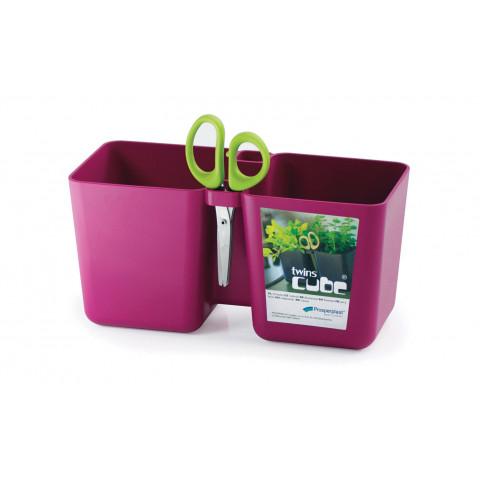 Květináč na bylinky s nůžky - Twins Cube fuchsie