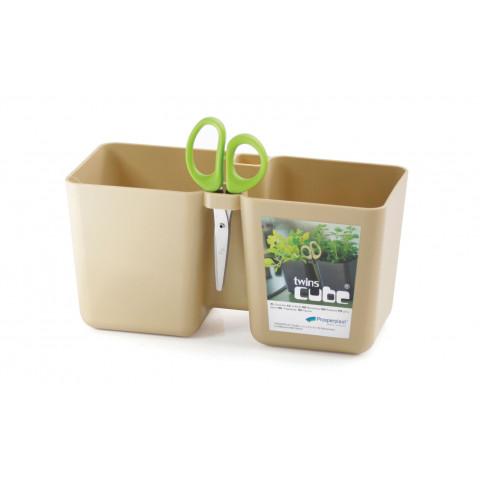 Květináč na bylinky s nůžky - Twins Cube latté