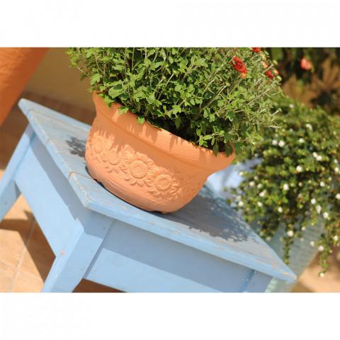 Venkovní květináč mísa - Dekor slunečnice terakota