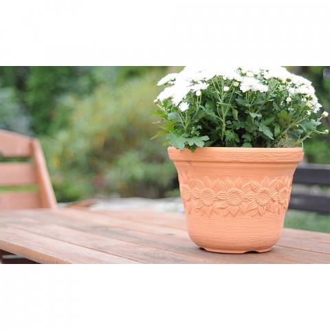 Venkovní květináč - Dekor slunečnice terakota