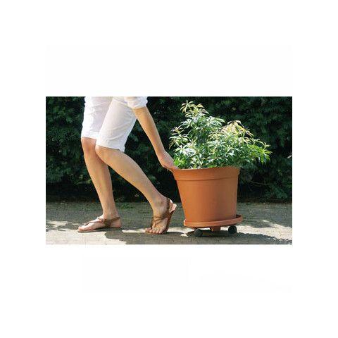 Miska pod květináč s kolečky kulatá - TERRA terakota