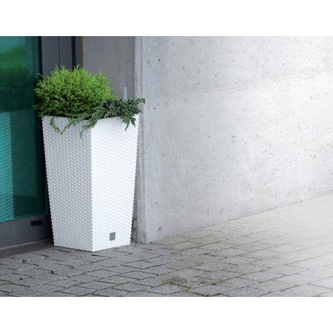 Ratanový květináč vysoký - RATO SQUARE bílý