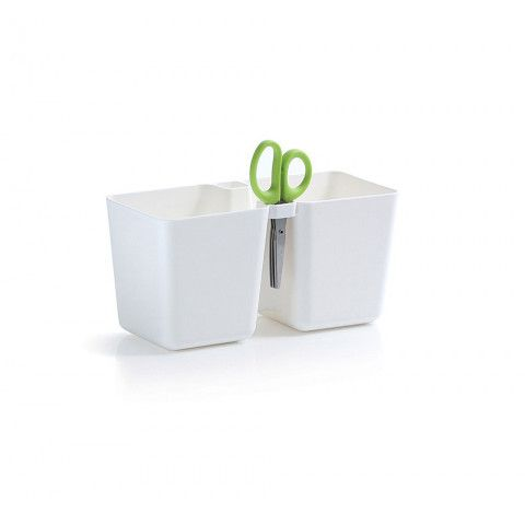 Květináč na bylinky s nůžky - Twins Cube bílý