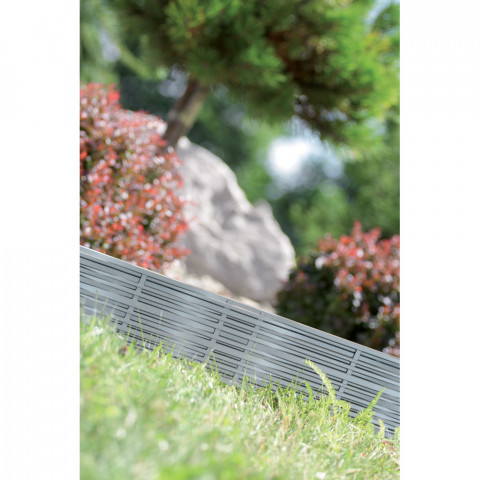 Proutěný travní lem plastový 3,9 m - šedý kámen