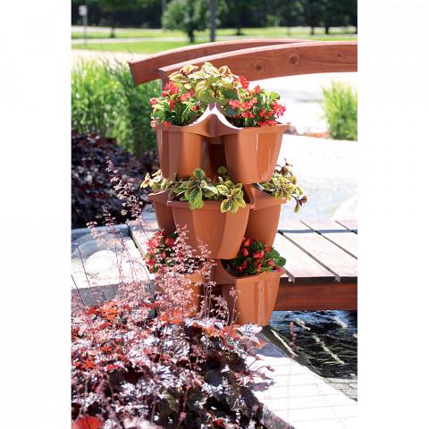 Kaskádový květináč na jahody - Crown terakota
