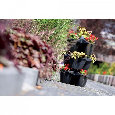 Kaskádový květináč na jahody - Crown antracit